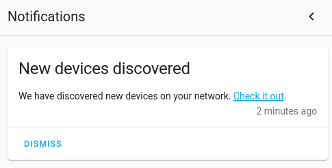 Notification telling that devices where found on network